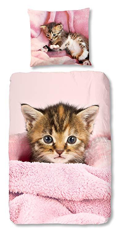 Aminata-Home Kinder-Bettwäsche-Set Katze