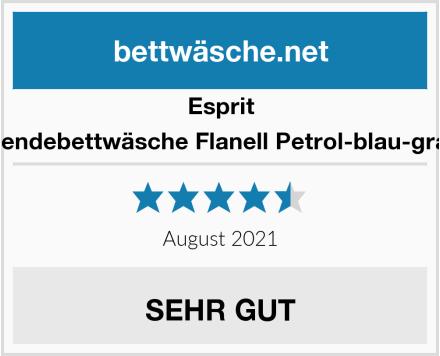 Esprit Wendebettwäsche Flanell Petrol-blau-grau Test