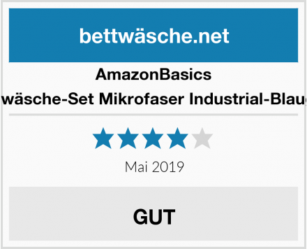AmazonBasics Bettwäsche-Set Mikrofaser Industrial-Blaugrün Test
