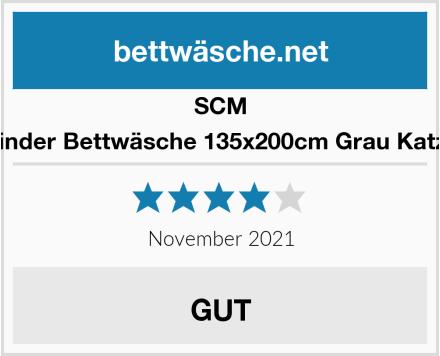 SCM Kinder Bettwäsche 135x200cm Grau Katze Test