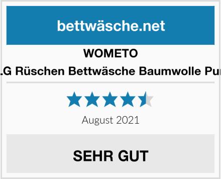WOMETO 4-TLG Rüschen Bettwäsche Baumwolle Punkte Test