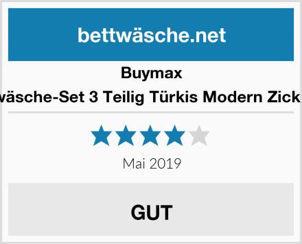 Buymax Bettwäsche-Set 3 Teilig Türkis Modern Zick Zack Test