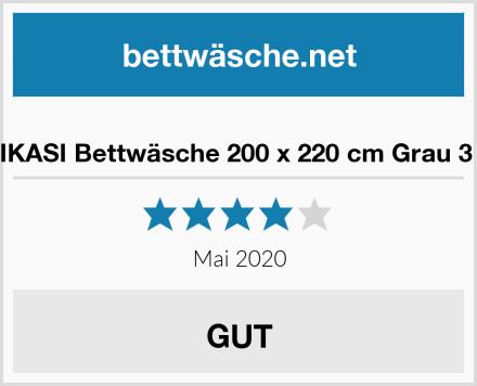 RUIKASI Bettwäsche 200 x 220 cm Grau 3 tlg. Test