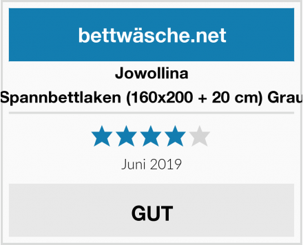 Jowollina Spannbettlaken (160x200 + 20 cm) Grau Test
