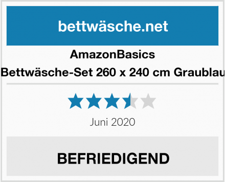 AmazonBasics Bettwäsche-Set 260 x 240 cm Graublau Test