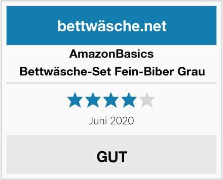 AmazonBasics Bettwäsche-Set Fein-Biber Grau Test