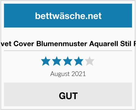 No Name Duvet Cover Blumenmuster Aquarell Stil Rot Test