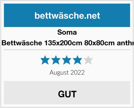 Soma Fein Biber Bettwäsche 135x200cm 80x80cm anthrazit/Beere Test
