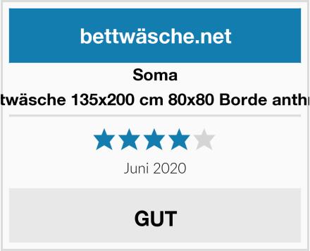 Soma Biber Bettwäsche 135x200 cm 80x80 Borde anthrazit/Grün Test