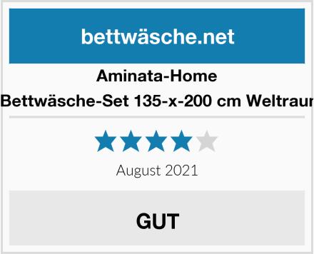 Aminata-Home Kinder-Bettwäsche-Set 135-x-200 cm Weltraum-Motiv Test