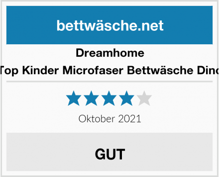 Dreamhome Top Kinder Microfaser Bettwäsche Dino Test
