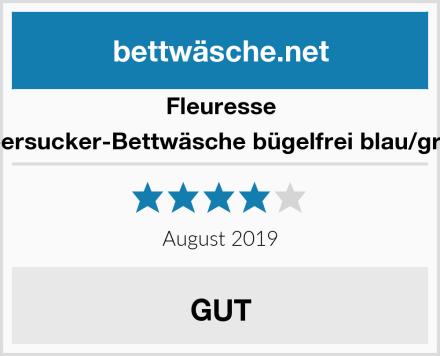 Fleuresse Seersucker-Bettwäsche bügelfrei blau/grün Test