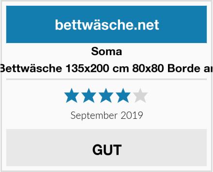Soma Soma Biber Bettwäsche 135x200 cm 80x80 Borde anthrazit/Grün Test