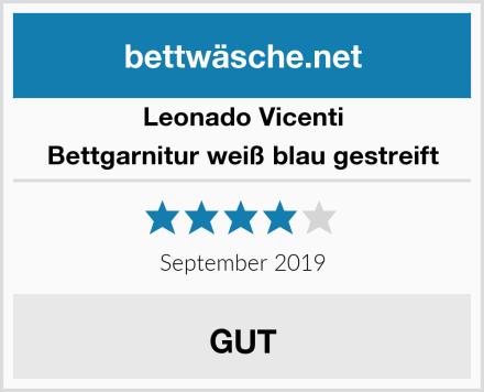 Leonado Vicenti Bettgarnitur weiß blau gestreift Test