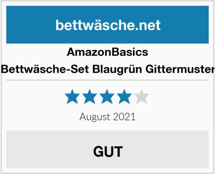 AmazonBasics Bettwäsche-Set Blaugrün Gittermuster Test