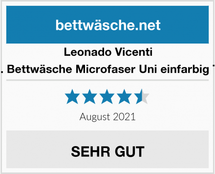 Leonado Vicenti 4 TLG. Bettwäsche Microfaser Uni einfarbig Türkis Test