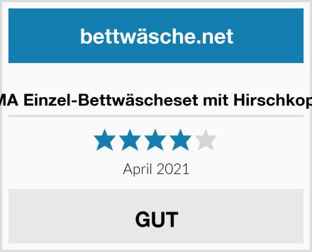 DE CAMA Einzel-Bettwäscheset mit Hirschkopf-Motiv Test