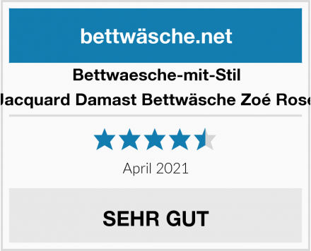 Bettwaesche-mit-Stil Jacquard Damast Bettwäsche Zoé Rose Test