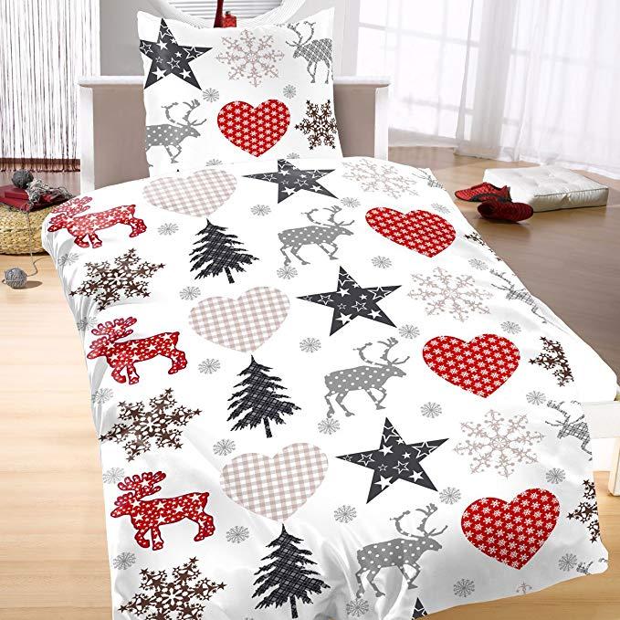 Bertels Textilhandel Biber Bettwäsche 135x200 Sterne Weihnachten