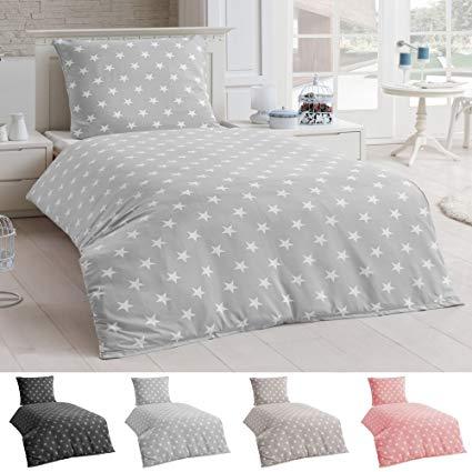 Dreamhome Bettwäsche Microfaser Bettbezug 135x200 Sterne Kissenbezug Grau