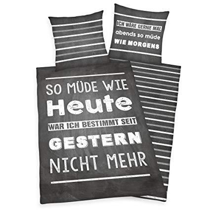 Herding Young Collection Bettwäsche-Set Wendemotiv mit Spruch