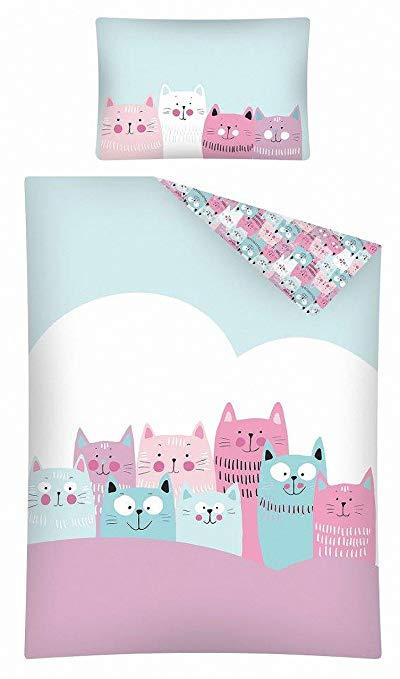 KiGaTex Kinderbettwäsche Katze rosa-mint