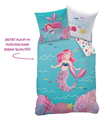 Matt&Rose Meerjungfrau Mädchen Biber Bettwäsche