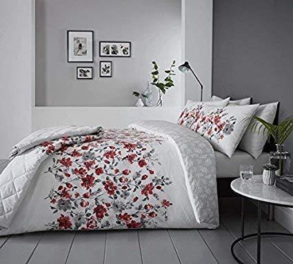No Name Duvet Cover Blumenmuster Aquarell Stil Rot