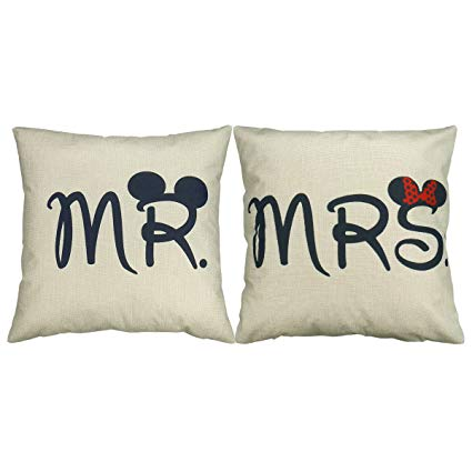 Luxbon 2er Set Mr Mrs Kissenbezug