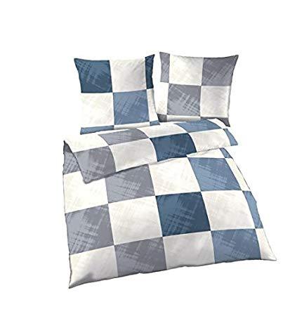 Soma Biber Bettwäsche 2 teilig Bettbezug Denim Silber Karo