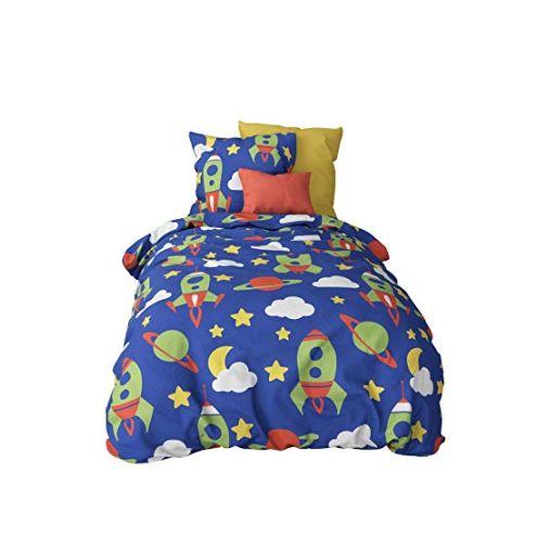 Aminata-Home Kinder-Bettwäsche-Set Weltraum-Motiv