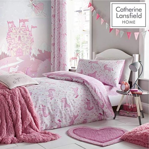 Catherine Lansfield Folk Einhorn-Bettbezug-Set
