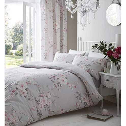Duvet Cover Grau Pink Rose Floral Bettwäsche
