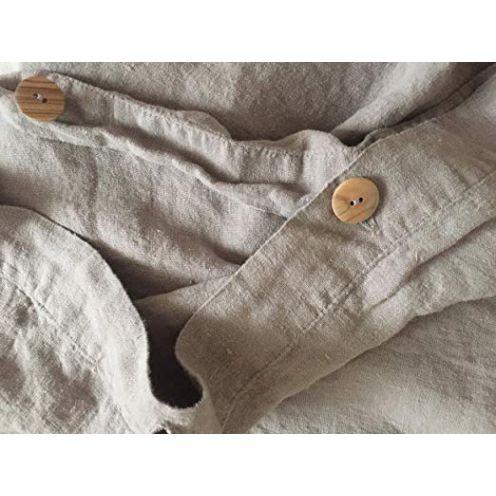 Jowollina Leinen Bettwäsche 100% Natur Leinen Stonewashed Grau