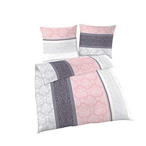 Biber Bettwäsche 4 teilig Bettbezug Quarz Silber Ornamente