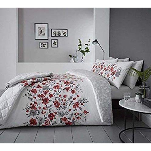 Duvet Cover Blumenmuster Aquarell Stil Rot