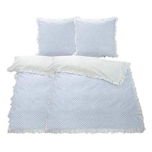 WOMETO 4-TLG Rüschen Bettwäsche Baumwolle Punkte