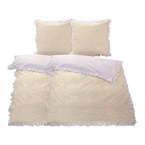 WOMETO 4-TLG Rüschen Bettwäsche beige